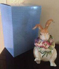 Fitz and Floyd Halcyon Bunny Rabbit Pansy Cookie Jar  New in Box