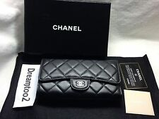 CLASSIC LONG CHANEL  BLACK  LEATHER LAMBSKIN WALLET BRAND NEW IN BOX FLAP