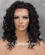 HEAT SAFE Wavy Curly Lace Front Medium Length Wig Dark Brown Ay 4