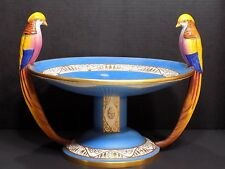 Rare Antique ROYAL DUX DUPOMA Colorful Art Deco Pheasants Bird Bath Centerpiece