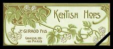 Vintage French Soap Perfume Label: Embossed Kentish Hops J. Giraud Fils Antique