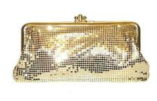 WHITING & DAVIS~GOLD~MESH~KISS-LOCK~FRAMED COCKTAIL CLUTCH HANDBAG
