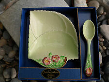 Vtg Carlton Ware UK Jam Dish & Spoon Primula Leaf Shape Primrose Wild Rose 1950