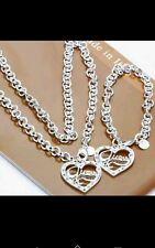 Heart & Chain Bracelet necklace  set 925 Stamped Silver lady men christmas gift