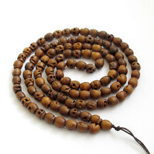 Tibet Buddhist 108 Wood Skull Prayer Beads Mala Necklace