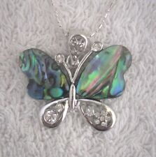 Necklace/Pendant Butterfly Abalone Shell new chain & box rhinestone broad wings