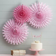 Ginger Ray Pastel Pink Tissue Paper Fan Decorations, Wedding, Party, Pink, Paper