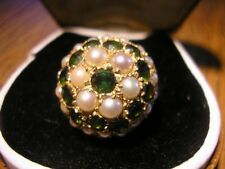 Stunning Vintage Quality Gold, Tourmaline & Real Pearl Boule Ring, DHJ, 1960S