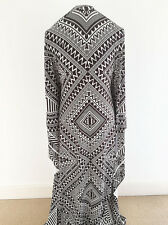 Black/White African/Tribal Printed Poly/Elastane Jersey Dressmaking Fabric