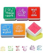 6 Teachers Stamper Self Ink Reward Marking Stamp Motivation Sticker School Kid