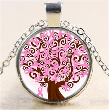 Breast Cancer Ribbon tree Cabochon Glass Tibet Silver Chain Pendant Necklace#AF9