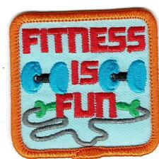Girl Boy Cub FITNESS FUN Exercising dumb bells Patches Crests Badge SCOUTS GUIDE