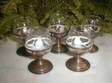 5 MEXICAN STERLING OVERLAY UNUSUAL SHOT GLASSES SIGNED JVE