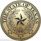 """TEXAS STATE SEAL Mirror Gold 2"""" Hard Hat Sticker Oilfield Decal FREE SHIPPING!"""