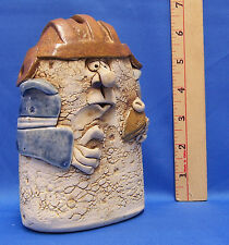 Pottery Money Coin Bank Foot Ball Player Whimsical Funny Face Cork