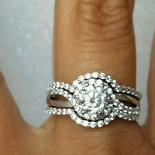 3 piece womans 14k white Gold Round Engagement Wedding 2 band Ring Set S8.5