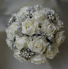Brides vintage 3 brooch wedding bouquet Ivory diamante and pearls