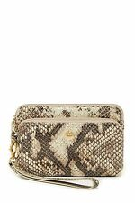 NEW LODIS WOMENS LEATHER PHOENIX CREDIT CARD & PHONE WRISTLET WALLET PYTHON