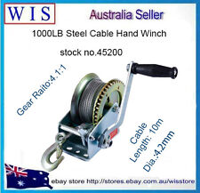 1000LBS/450Kg 2-Speed Steel Cable Hand Gear Winch Manual Boat Car Boat Mount