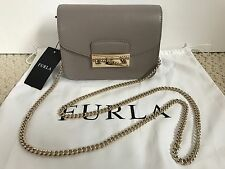 NWT Auth Furla Julia Gray Saffiano Leather Flap Mini Crossbody Bag Handbag $298