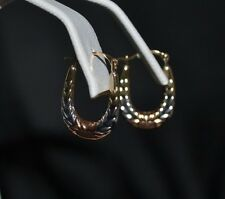 NEW 10K SOLID YELLOW GOLD TRICOLOR BABY KIDS HOOP EARRINGS