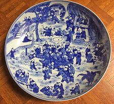 "Chinese blue and white charger, 16"" diameter,many kids. Qian-Long mark"