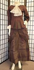 ANTIQUE VICTORIAN 1890'S BROWN MOURNING 2 PC BUSTLE GOWN DRESS