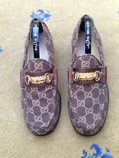 Gucci Womens Shoes Brown Canvas Horsebit Loafers UK 3 US 5 EU 36 Ladies Web