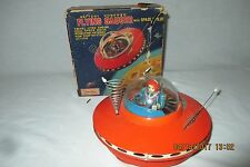Vintage Japan Cragstan Battery Operated Tin Flying Saucer w/Space Pilot  - EX