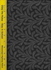 "108"" WIDE QUILT BACKING FABRIC: FLOWY,  FLW-BLACK, 100% COTTON, By The Yard"