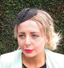 Black Beaded Birdcage Veil Hat Headpiece Fascinator Statement Ascot Races 1600