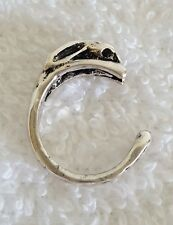 Bunny Rabbit Hare Antique Silver Tiny Finger or Pinky Ring - Adjustable