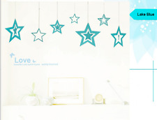 7PCs/1Set Paper Hollow Stars Card Charms Garland Home Decoration ( LAKE BLUE)