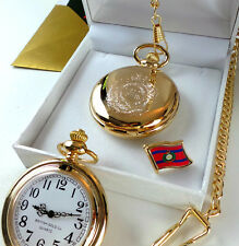 ROYAL ENGINEERS Pocket Watch  Lapel Pin Badge Crest 24k Gold Luxury Gift Set