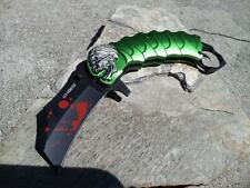 Zombie Z Hunter Folding Knife Claw A/O Folding Skull Green Finger Ring 058gn