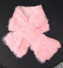 baby pink real genuine rabbit fur pelt collar scarf satin lining 92cm x 16cm