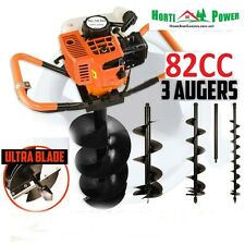 Earth borer 82cc post hole digger tarière essence 3 drills bits ultra sharp blades