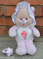 Vintage 1986 Baby SHARE BEAR CUB Plush Flocked CARE BEAR Kenner Bonnet ACCESSORY