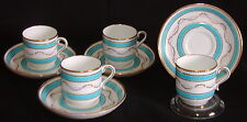 4 Minton Porcelain England Tiffany Co Demitasse Cup Saucer H3507 Turquoise Gold