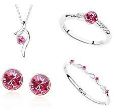 PARURE rose, boucle d'oreille, bracelet, bague, pendentif métal argenté cristaux