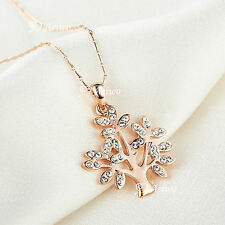 18K ROSE GOLD GF SWAROVSKI CRYSTAL TREE OF LIFE PENDANT NECKLACE