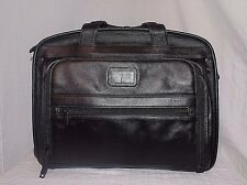 TUMI Men's Black Organizer Briefcase Cowhide Leather Color Black