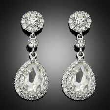 Chandelier Earrings Platinum Rhinestone Bridal Silver Drop Earrings For Women