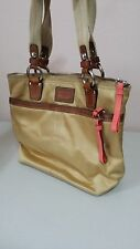 COACH 2006 Champagne Satin Fabric Hamptons Weekend Tote Purse - 11744 MI1142