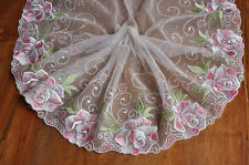 """2 Yards Lace Trim Ivory Tulle Dot Exquisite Pink Flowers Embroidered 7.08"""" Width"""