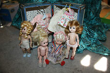 Vintage vogue Ginny  Ginger doll lot clothes shoes Trunk hangers 4 dolls 1950's