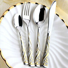 4pc Stainless steel Cutlery set Gold Plated Flatware Set Dinner Knife Fork Spoon