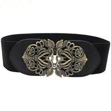 Women's Vintage Metal Buckle Elastic Waist Belt Strap Waistband Corset Cinch
