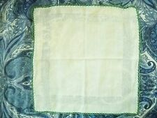 1940S LIGHT GREEN SOFT COTTON  LADIES HANDKERCHIEF W/GREEN CROCHET BORDERS