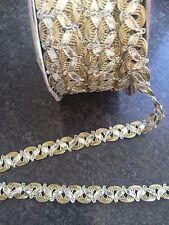 1M trenza de oro y plata Encaje Cinta Ribete con 12MM de ancho